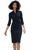 Navy Blue Long Sleeve Pleated Wrap Midi Dress