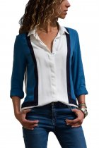 White Blue Color Block Long Sleeve Button Down Shirt