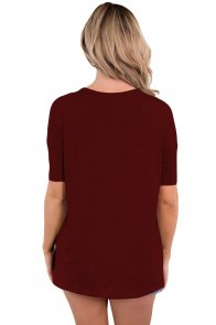 Burgundy Cutout Choker Detail Short Sleeve T-shirts