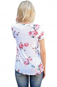 White Short Sleeve Round Neck Floral Printed T-shirt