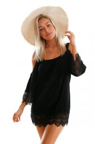 Black Lacy Crochet Trim Crinkle Cold Shoulder Beachwear