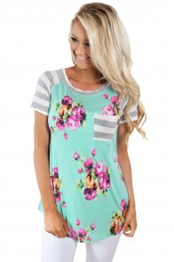 Mint Floral Striped Patchwork Casual T-shirt
