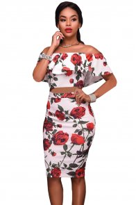Red Roses Print Two-piece Set