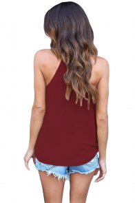 Wine Red Wrapped Ruffle Tank