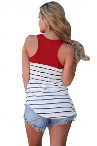 Stylish Striped Red Block Racerback Tank Top