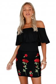 Ruffle Off Shoulder Floral Embroidered Little Black Dress