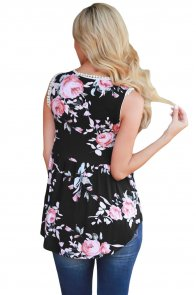 Black Floral Pompom Lace Trim Flowy Tank Top