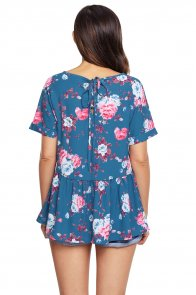 Blue Lace-up Back Floral Ruffle Top