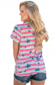 Grey Pink Striped Star Short Sleeve Knot Top