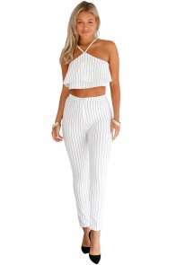 White Striped Ruffle Top and Pant Set