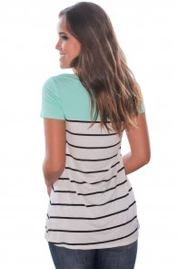 Mint Splice Striped Short Sleeve T-shirt