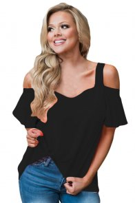 Black Open Shoulder Ruffle Sleeve Asymmetric Hem Top
