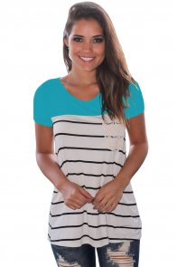 Blue Splice Striped Short Sleeve T-shirt
