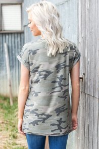 American Flag Pocket Grey Camo Shirt