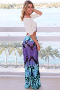 Aqua and Purple Printed Palazzo Pants