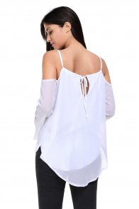 White Cold Shoulder Overlap V Neck Long Sleeve Top
