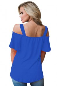 Blue Open Shoulder Ruffle Sleeve Asymmetric Hem Top