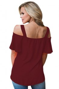 Wine Open Shoulder Ruffle Sleeve Asymmetric Hem Top
