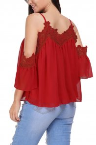 Burgundy Cold Shoulder Embroidered Accent Draped Top