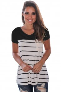 Black Splice Striped Short Sleeve T-shirt