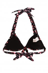 Waterfowl Print Black Retro Tie Front Plus Bikini Top