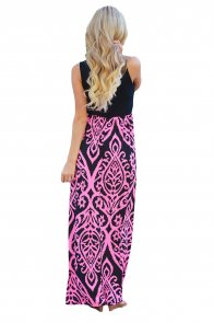 Rosy Damask Print Sleeveless Long Boho Dress