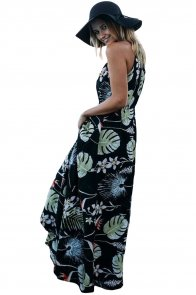 Dark Foiled Flower Print Sexy V Neck Maxi Dress