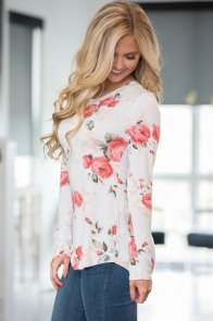 White Long Sleeve Floral Autumn Womens Top