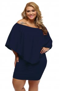 Plus Size Multiple Dressing Layered Dark Blue Mini Poncho Dress