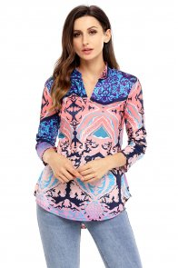 Coral Navy Easily Obsessed Damask Print Split V Neck Tunic