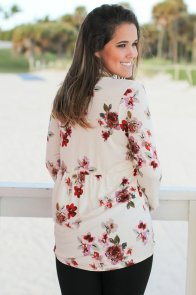 Ivory Floral Print Lace Up V Neck Sleeved Blouse