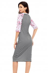 Black White Stripe Floral Sleeve Midi Dress