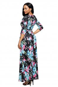 Black Blue Floral Print Wrapped Long Boho Dress