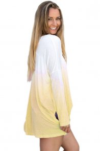 Yellow Ombre Split Side Long Sleeve Top