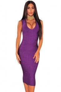 Purple Gold Button Cut Out Back Bandage Dress