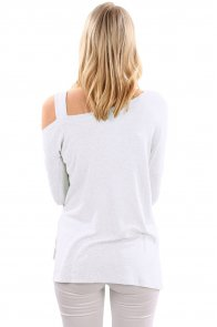 White One Shoulder Long Sleeve Top with Slit