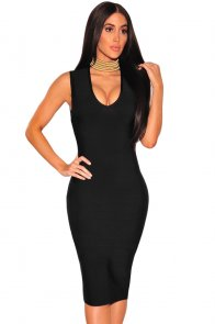 Black Gold Button Cut Out Back Bandage Dress