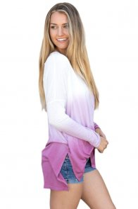 Purple Ombre Split Side Long Sleeve Top