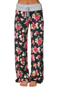 Dark Floral Terry Wide Leg Pants