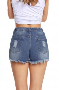 Blue Medium Wash Denim Destroyed Shorts