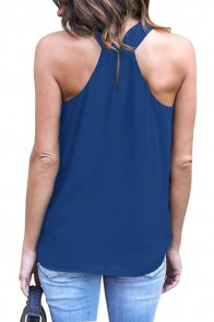 Royal Blue Athena Drape Wrapped Tank Top