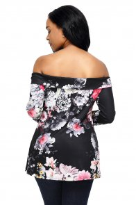 Dark Floral Off Shoulder Crisscross Top