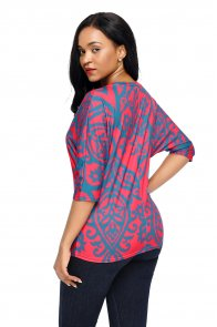 Red Blue Damask Print Half Sleeve Top
