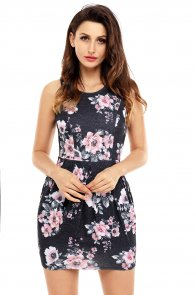 Black Floral Sleeveless Short Dress