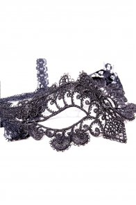 Black Metallic Lace Masquerade Eye Mask