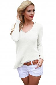 White Long Sleeve Knit Hooded Top
