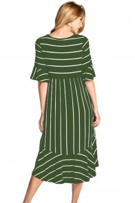 Green White Striped Bell Sleeve Hi-low Midi Dress