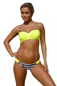 Striped Yellow Padded Gather Push-up Bikini Set