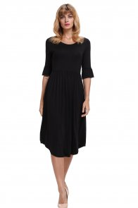 Black Ruffle Sleeve Midi Jersey Dress