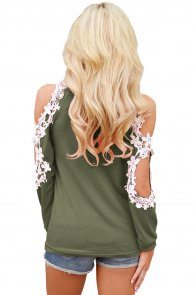 Lace Trim Cold Shoulder Green Long Sleeve Top